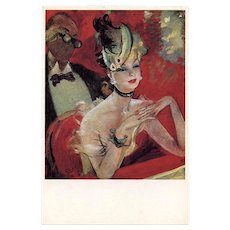 At the Opera: Retro Parisian Pin Up Beauty by French Artist Jean-Gabriel Domergue