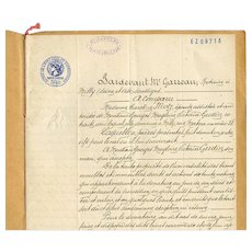 1931 Notarized Legal Contract French Script and Seals - Red Tag Sale Item