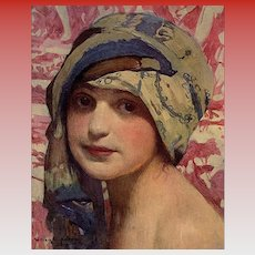 1919 L'Illustration Art Print of Young Girl in a Turban by William Laparra
