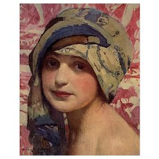 RESERVED for Carolynn 1919 L'Illustration Art Print of Young Girl in a Turban by William Laparra