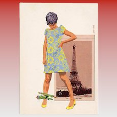 Giant Woman with Miniature Airplane Retro French Postcard Celebrating 100th Anniversary of the Eiffel Tower