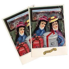 Paris Hatbox Girls Retro 1962-63 Postcard Artist Signed