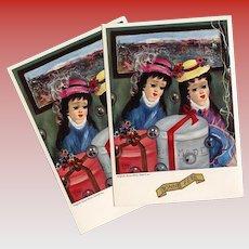 Paris Hatbox Girls Retro 1962-63 Postcard Artist Signed