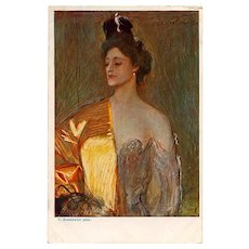 Beauty in Gold Artist-Signed Polish French Postcard circa 1908 Unused