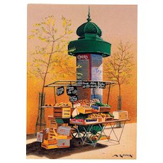 Fruit Seller's Stand in front of Morris Column André Renoux Artist Signed Postcard Unused
