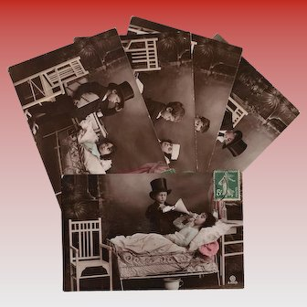 Antique Get Well Series 5 Postcards Children as Edwardian Doctor and Patient