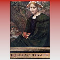 April 1910  L'Illustration Front Cover Edgard Maxence's Contemplation
