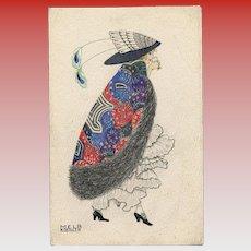 Mela Koehler Fashion Postcard Lady Drinking Champagne Unused Antique Postcard