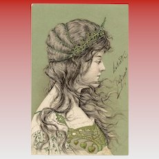 Neoclassical Beauty in Green Italian Franked Antique Postcard