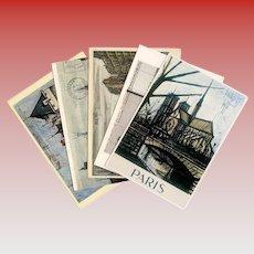 Bernard Buffet and Christo Collection of Vintage Postcards Paris Loire Pont Neuf
