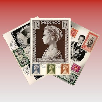 Philatelic Souvenirs from Monaco of Grace Kelly and Prince Rainier 3 1956-57 Postcards