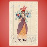 Unsigned Mela Koehler Postcard Lady with Flowers Unused Near Mint