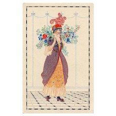 Unsigned Mela Koehler Postcard Lady with Flowers Unused Near Mint
