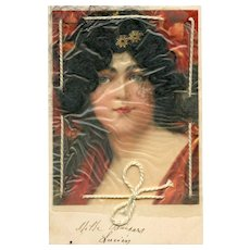 Real Hair Novelty Postcard Stamped and Franked c1903