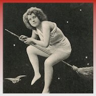 Half-Naked Woman Flying on Broom Moon Meteorite Stars and Owl c1903
