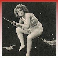 Half-Naked Woman Flying on Broom Moon Meteorite Stars and Owl c1903