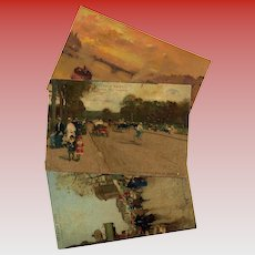 Advertising Art Reproduction Postcards Paris Scenes by Luigi Loir