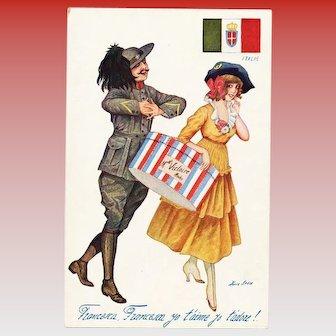 Tribute to Italy Xavier Sager Unused Antique Postcard