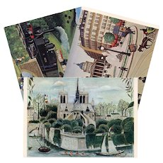 Notre Dame, Paris, France countryside by Train: Three Vintage Unused French Postcards Artist Signed