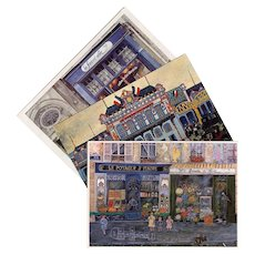 Paris Shop Scenes  Orleans Train Station in Blue: Three Vintage French Postcards
