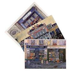 Paris Shop Scenes  Orleans Train Station in Blue: Three Vintage French Postcards