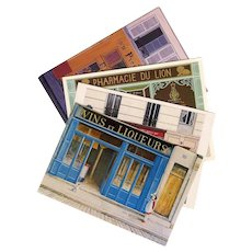 4 Colorful Storefront Scenes by Parisian Artists Postcard Art Prints