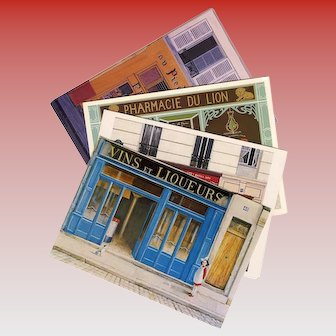 4 Colorful Storefront Scenes by Parisian Artists Postcard Art Prints
