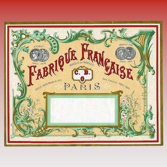 Huge Art Nouveau Fabrique Française Paris Label for Renown C.B.G. Handmade Toy Soldiers Company