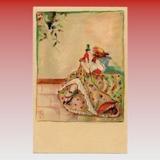 Girl and her Doll by Erna Maison-Kurt Unused Art Deco Postcard