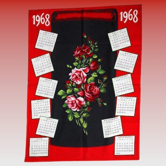 Vintage French Kitchen Tea Towel 1968 Calendar with Roses Unused Mint Condition
