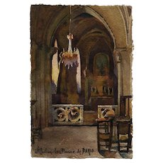 Original 1916 Watercolor of Saint-Julien-le-Pauvre Paris Church Postcard with War Note