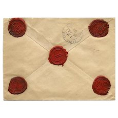 Wax Sealed Envelope Mailed in 1902 to Paris