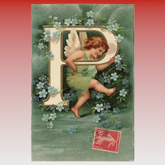 Unsigned Clapsaddle Alphabet Letter P Postcard with Angel and Forget Me Nots