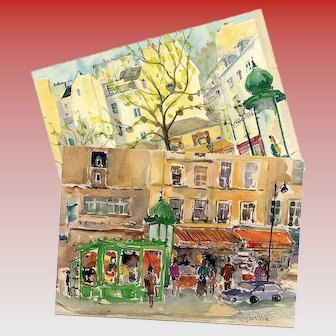 Two Paris Shop Scenes by Watercolor Artist Denise Bertiere Vintage Unused Postcards