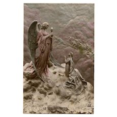 Bread of Life Angel and Girl's First Communion Sculptochrome by Mastroianni Unused 1912 Postcard Handpainted