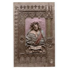 Ecce Homo Christ Handpainted Bas Relief by Mastroianni Unused 1912 Postcard