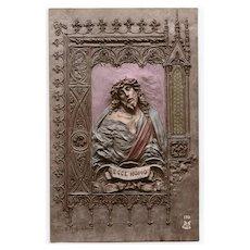 Ecce Homo Christ Handpainted Bas Relief by Mastroianni Unused 1912 Postcard