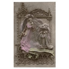 Angel Giving Communion to Children Clay Bas Relief by Mastroianni Unused 1912 Postcard Handpainted