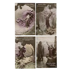 Hand-painted Creation Series of 7 Postcards by Italian Sculptor Mastroianni 1912 Unused