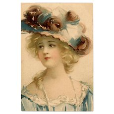 Belle Epoque Beauty in Blue Antique Unused Pre-1904 Postcard