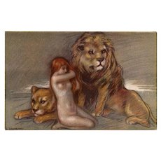 Red Headed Nude with Lions by Zandrino Unused Italian Postcard