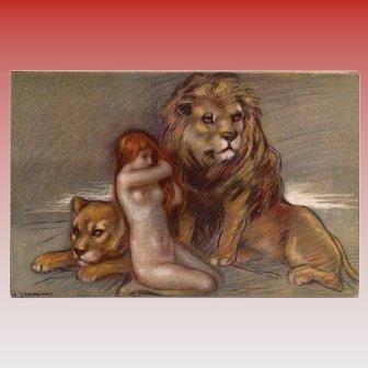 Red Headed Nude with Lions by Zandrino Unused Italian Postcard