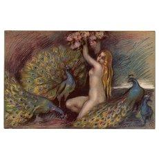 Symbolist Art Blonde Nude with Peacocks Zandrino Artist-Signed Postcard c1917