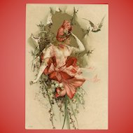 Springtime Beauty in Lilies 1900 European Postcard with Gold Overlay