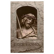 Christ with Crown of Thorns Handpainted Bas Relief Ecce Homo by Mastroianni Unused 1912 Postcard