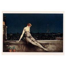Mimi Pinson and Eiffel Tower by Louis Icart Vintage Unused 1987-88 Postcard