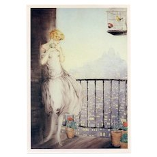 Louise by Louis Icart Sacre Coeur Paris 1987 Art Reproduction Postcard Japanese Issue