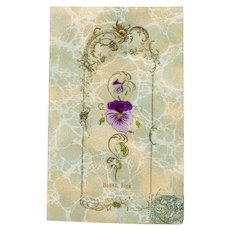 Hand-Painted Pansy with Gold Embossing on Marbled Paper 1906 Postcard
