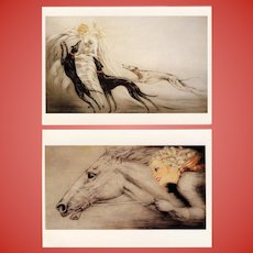 Thoroughbred and Chien de Chasse Two Louis Icart Postcards 1987