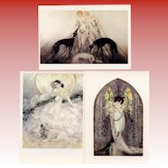 Trio of Louis Icart Postcards 1987: Racing Dogs and Operas